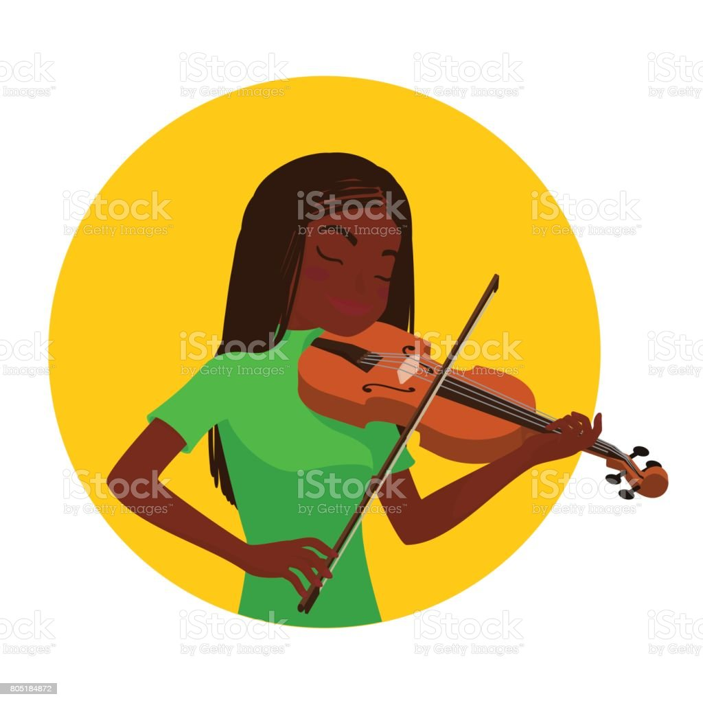 Musician Playing Violin Girl Violinist Is Inspired To Play A ...