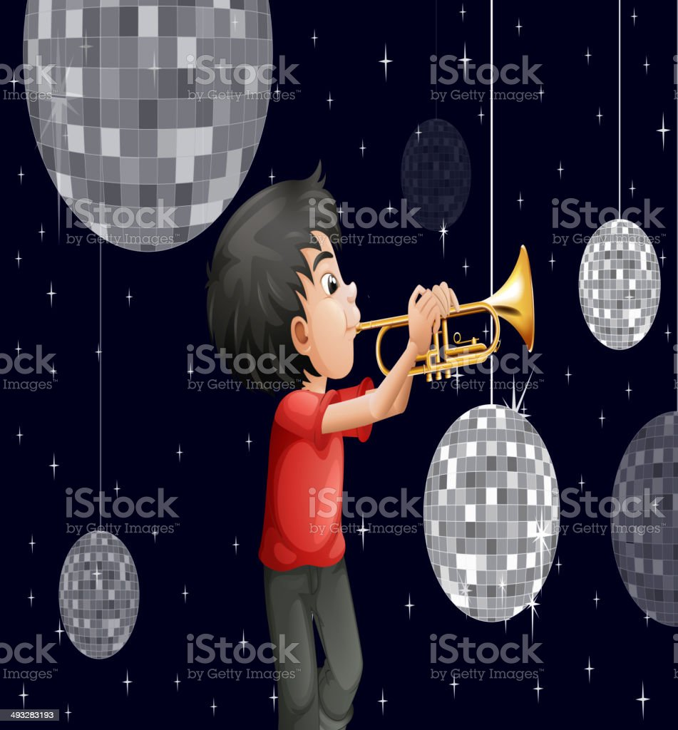 musician surrounded with disco balls vector art illustration