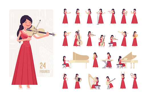 Musician, woman playing music, musical instruments, character set, pose sequences