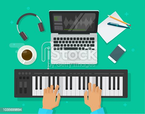 Musician workspace studio vector illustration, flat person playing midi piano keyboard and compose electronic music on computer laptop with and sequencer software top view, musician writing song