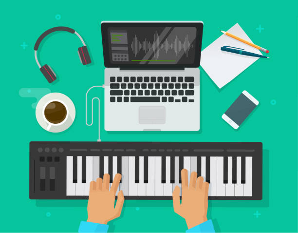 musician workspace studio vector illustration, flat cartoon person playing midi piano keyboard, compose electronic music on computer laptop with and sequencer software top view, musician writing song - pianino instrument klawiszowy stock illustrations