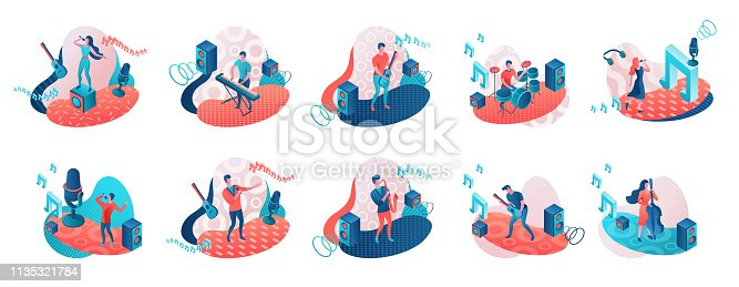 Musicians 3d isometric set with trendy 80s geometric patterns, music band artists, jazz festival background, singer, guitar, piano, cartoon collection of musical people, blue and coral color