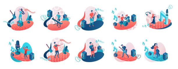 stockillustraties, clipart, cartoons en iconen met muzikanten 3d isometrische set met trendy geometrische patronen - zingen