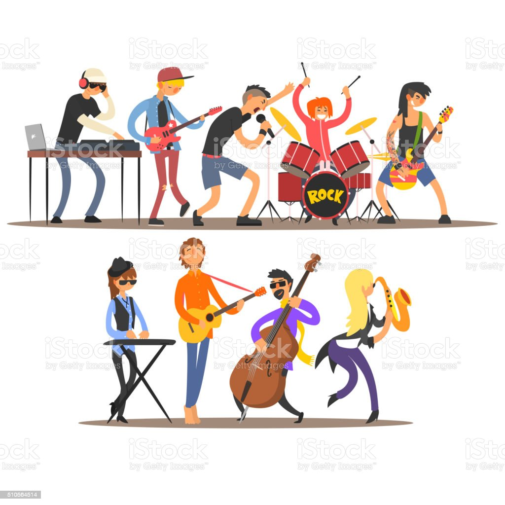 Musicians and Mucical Instruments. Vector Illustration vector art illustration
