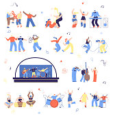 Dancing and Playing on Musical Instruments People Flat Vector Set Isolated White Background. Ethnic Musical Band, Touring Rock, Jazz Musicians, Open Air Live Concept, Festival Illustration Collection