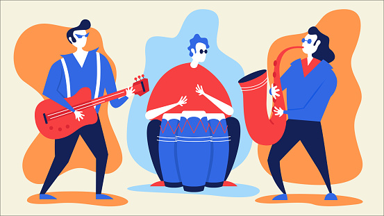Musicians and musical instruments.