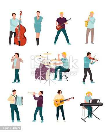 Musicians and singers vector characters set. Cartoon man, woman. Music and singing art. Cello, guitar, drums, synthesizer . Orchestra, rock band, soloist, jazz players with musical instruments