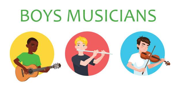 bildbanksillustrationer, clip art samt tecknat material och ikoner med musikerna pojkar i olika nationer är inspirerad att spela musikinstrument. violinist, flöjtist, gitarrist. vektorillustration i platta tecknad stil på vit bakgrund för din design, print. musik. - violin