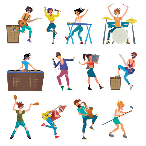 Musicians Cartoon Vector Characters Playing Musical Instruments. Drummer, Keyboardist, Singers, DJ, Dancer and Other. Illustration, Isolated on White. vector art illustration