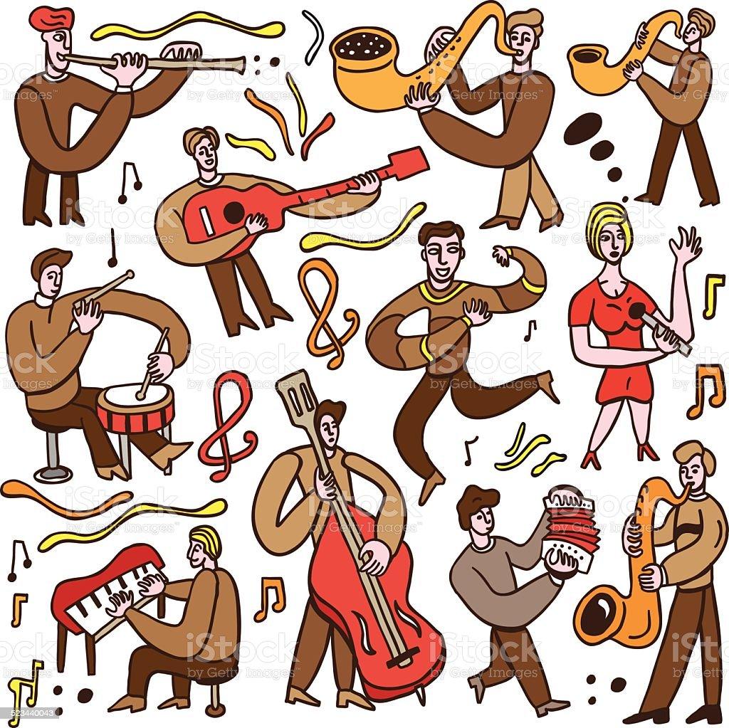 musicians - cartoons set vector art illustration