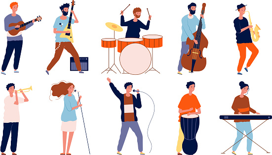 Musicians characters. Creative performing peoples in different poses playing at musical instruments and singing. Vector musicians