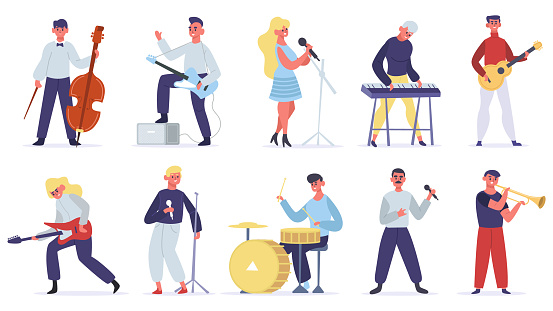 Musicians characters. Guitarist, singer, drummer and singer artist, metal and jazz artistic performers. Vocal singers people vector illustrations