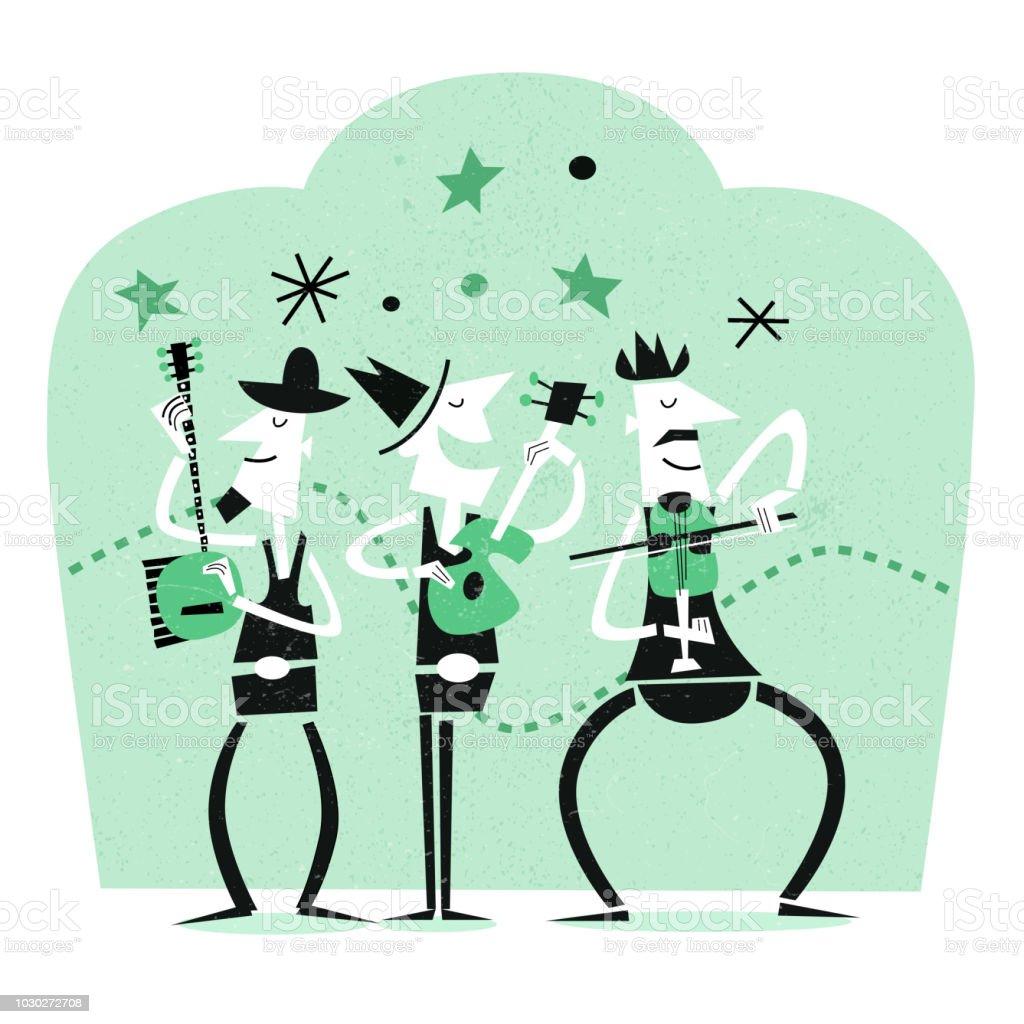Musicians in a Band vector art illustration