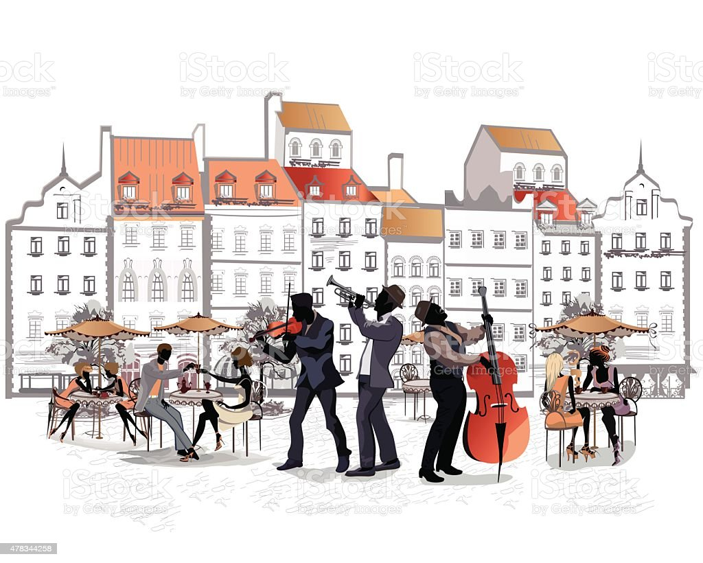Musicians in the old city vector art illustration