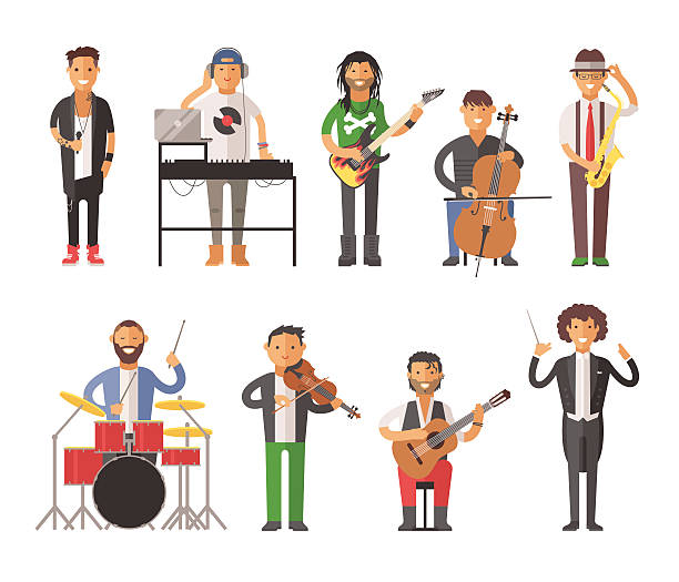 Musiciens personnes à illustration vectorielle - Illustration vectorielle