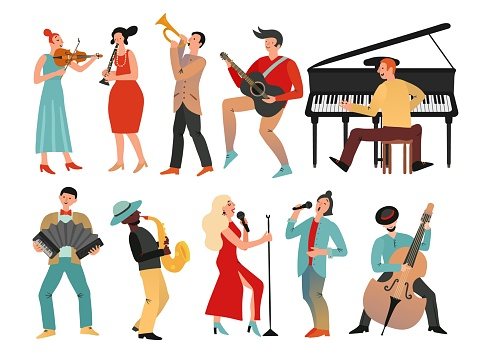 Musicians. Professional orchestra and musician band. Isolated people with music instruments. Vector male and female musical characters