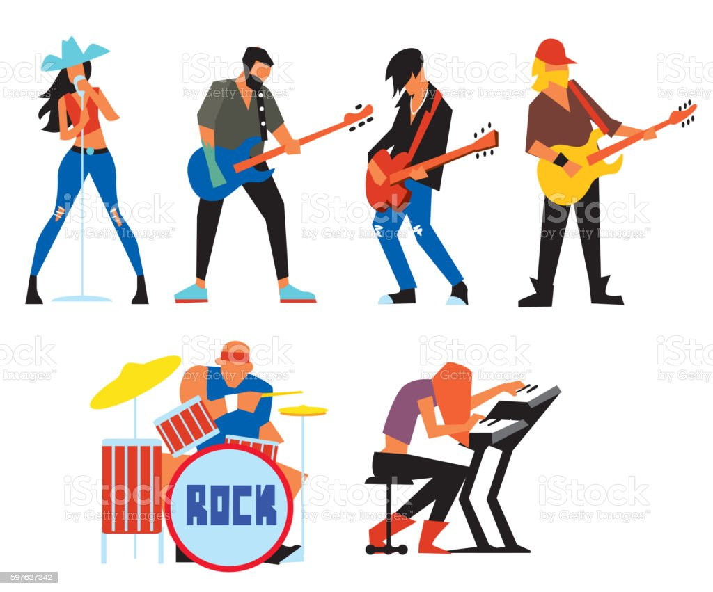 Musicians rock group isolated on white background. - ilustración de arte vectorial