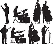 Set of a musicians Silhouettes. Included files; Eps8 and aics2.