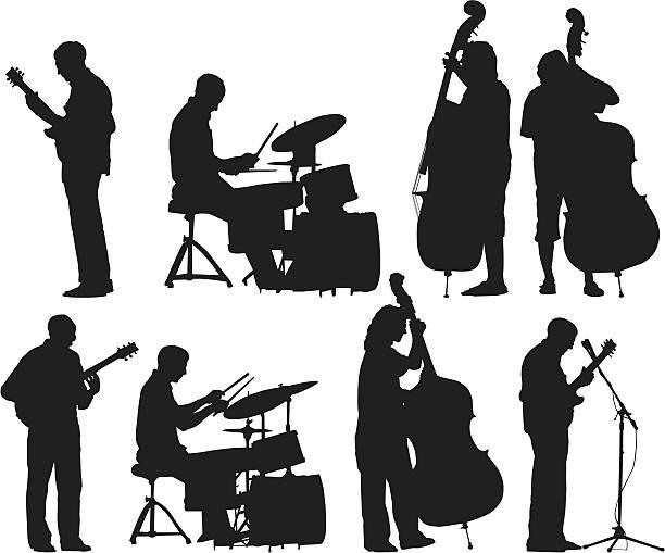 stockillustraties, clipart, cartoons en iconen met musicians silhouettes set - slaginstrument