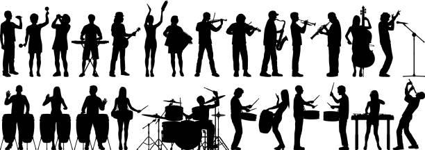 stockillustraties, clipart, cartoons en iconen met muzikanten - klarinet