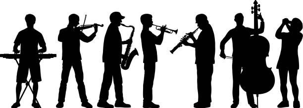 musicians - waltornista stock illustrations