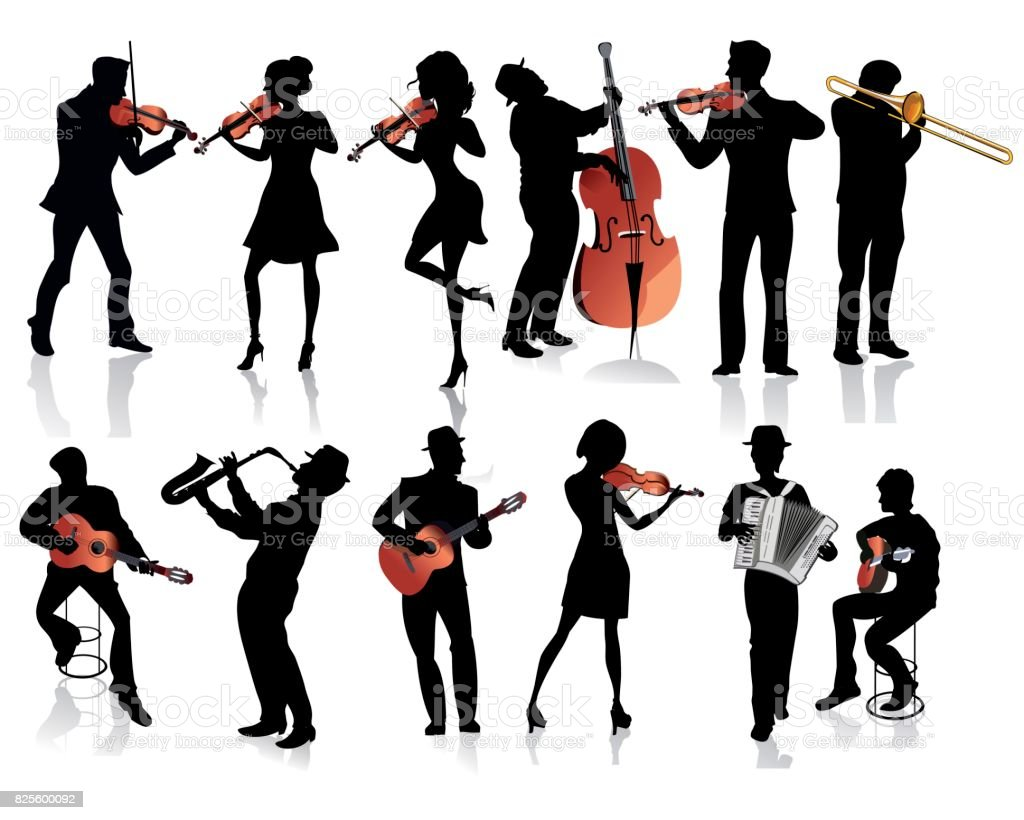 Musicians with a violin, a guitar, a trumpet, an accordion. vector art illustration