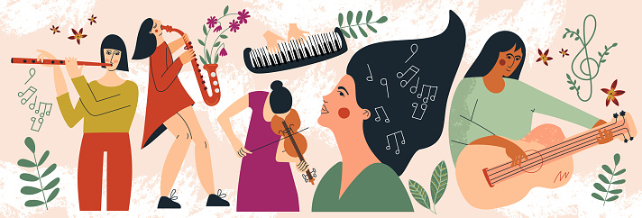 Musicians women playing musical instruments web banner. Clipart of girls performer with music instruments. Female band concert performance. Festival, party and event. Flat vector cartoon illustration