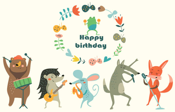 Musin Band Birthday card with cute animals  playing the musical instruments. Cartoon style. animal stock illustrations