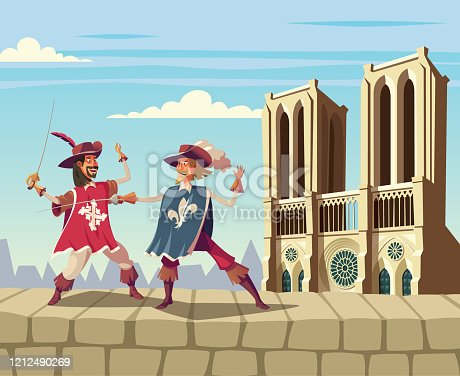 Musketeers fighting on Paris city wall and Notre Dame cathedral in background