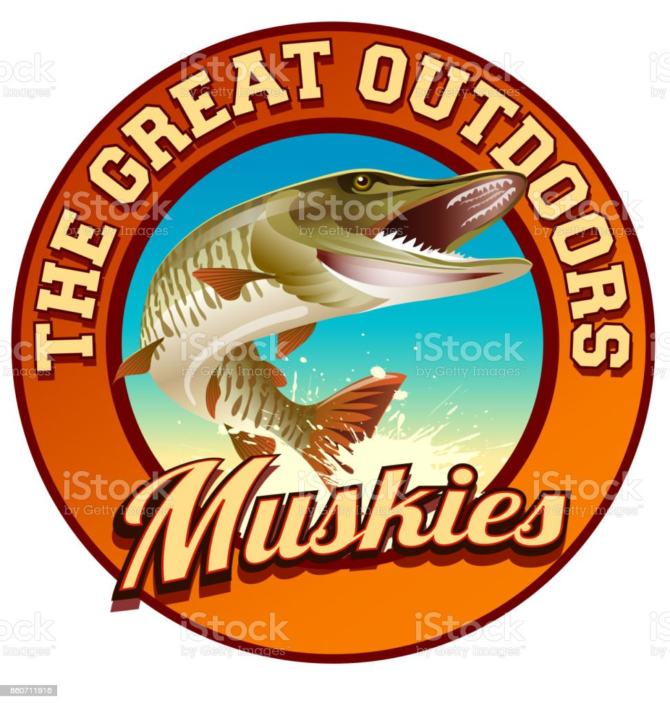 Muskie illustration on circular label with text, the great outdoors vector art illustration