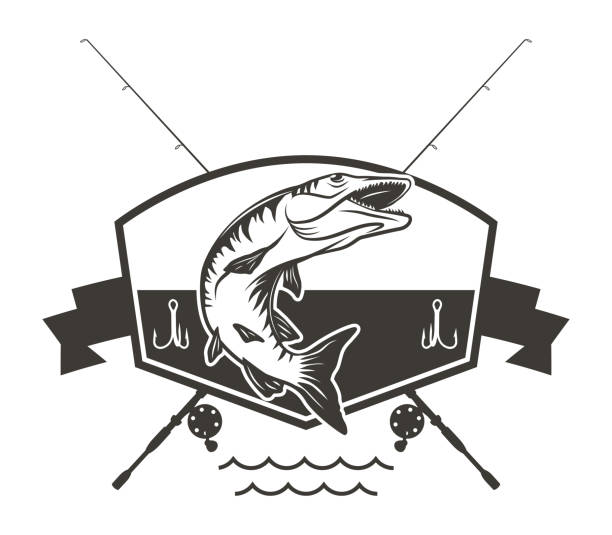 Muskie Logo with Crossed Fishing Rods