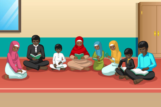 Muslim African Family Studying Quran Together vector art illustration