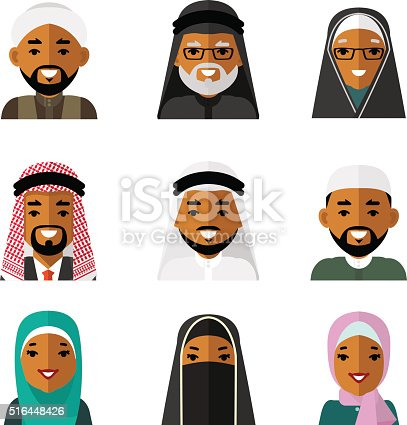Muslim Arab People Characters Avatars Icons Set On White ...