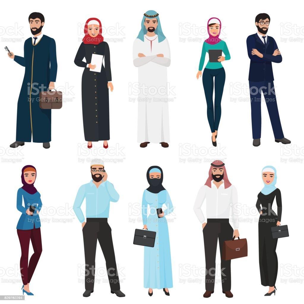 Muslim Arabic Business people. Arab office male and female cartoon vector illustration set. vector art illustration