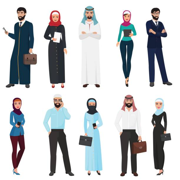 穆斯林阿拉伯文商務人士。阿拉伯辦公室男性和女性的卡通向量插圖集。 - emirati woman 幅插畫檔、美工圖案、卡通及圖標