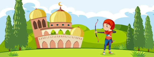 a muslim archery traning in front of mosque - target australia stock illustrations