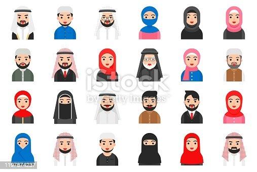 Muslim avatar icon set, flat style vector illustration