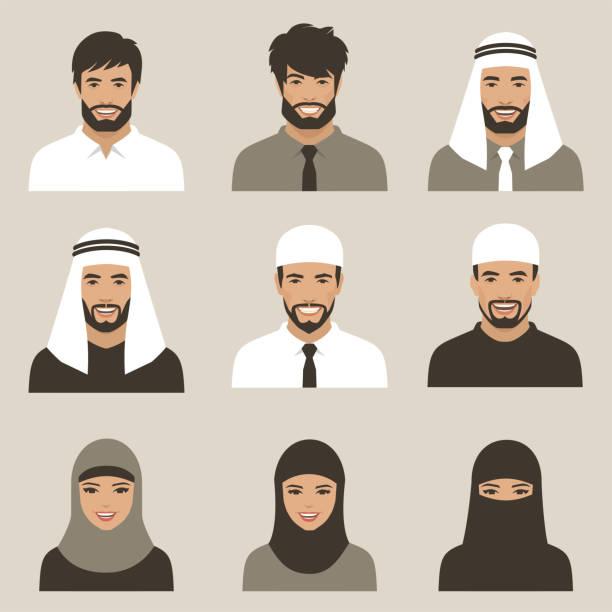 muslimische Avatare, Vektor arabische Menschen – Vektorgrafik