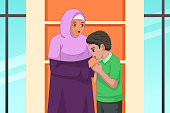 Muslim Boy Kissing Her Mother Hand Illustration