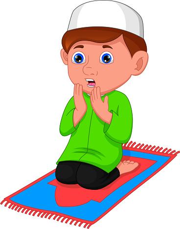 muslim boy praying cartoon