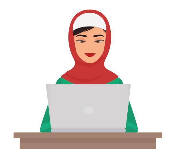 穆斯林的商業在孤立的筆記本電腦上工作的傳統服裝的漂亮女人。阿拉伯女性的向量圖。 - emirati woman 幅插畫檔、美工圖案、卡通及圖標