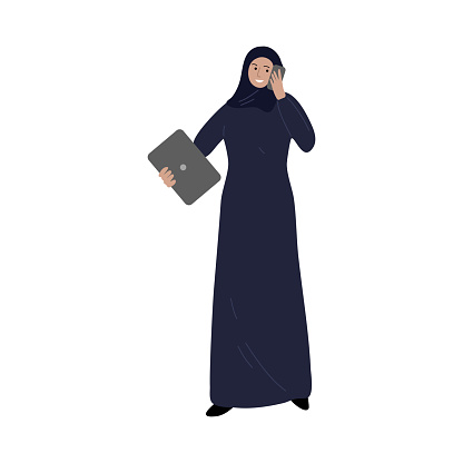 Muslim business woman speaking on the phone and holding the laptop. Vector illustration in cartoon style.