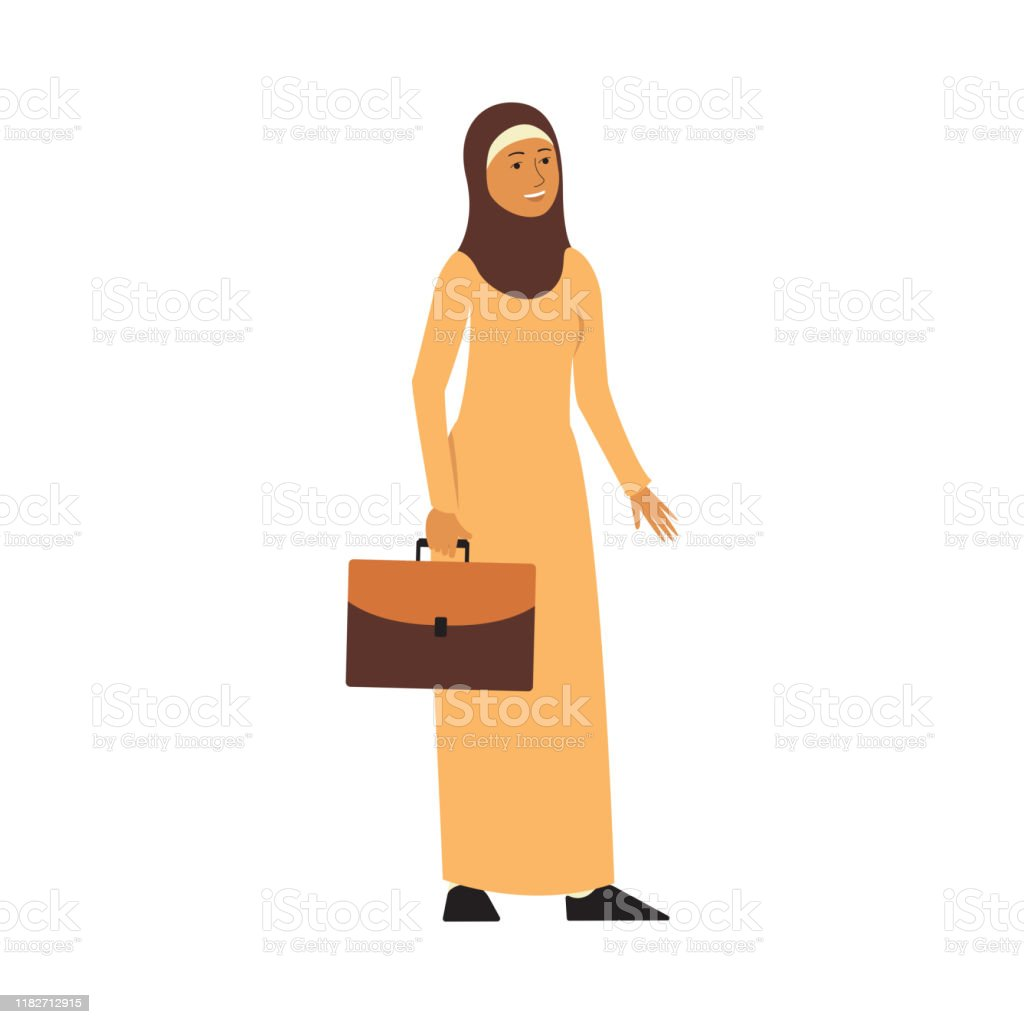Muslim businesswoman in yellow hijab and dress, cartoon character Arab business woman with suitcase standing and smiling Muslim businesswoman in yellow hijab and dress, cartoon character happy Arab business woman with suitcase standing and smiling, hand drawn flat vector illustration isolated on white background Adult stock vector