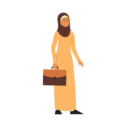 Muslim Businesswoman In Yellow Hijab And Dress Cartoon Character Arab Business Woman With Suitcase Standing And Smiling Stock Illustration - Download Image Now