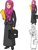 Muslim Businesswoman Wearing Fuchsia Veil with Holding Briefcase