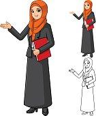 Muslim Businesswoman Wearing Orange Veil with Welcoming Hands