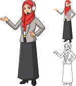 Muslim Businesswoman with Welcoming Hands and Head Phone