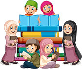 Muslim children reading book