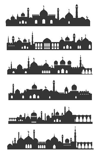 Muslim cityscape black set, urban arabian landmark