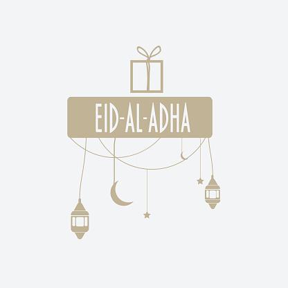 Muslim community holiday eid al-adha greeting card.